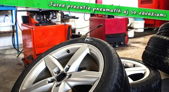 Jarné prezutie pneumatík + vyváženie kolies aj so závažiami.