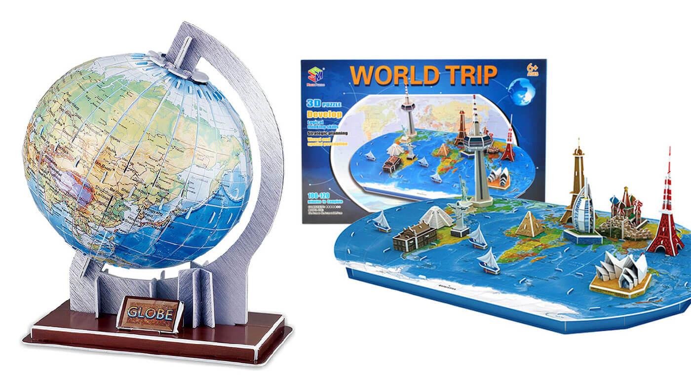 Výnimočné 3D puzzle - na výber glóbus a priestorová mapa sveta!