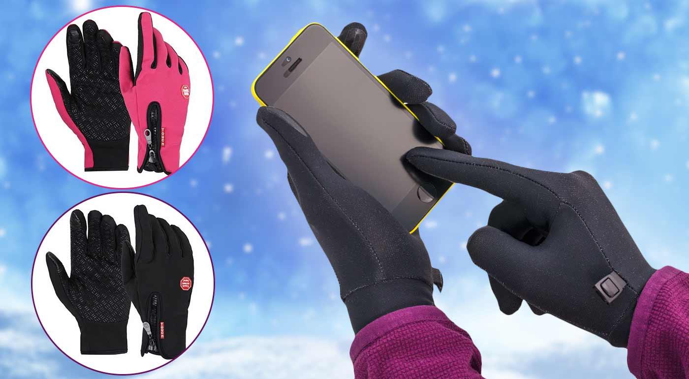 Fotka zľavy: Kvalitné zimné rukavice s vnútorným zateplením a úpravou pre pohodlné ovládanie dotykových displejov. Sú navyše odolné voči vetru i miernemu dažďu.