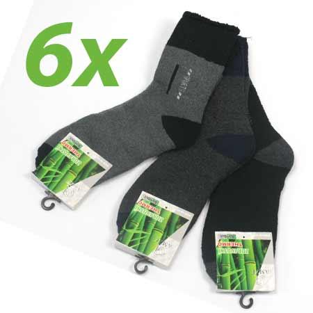 6 párov pánskych zdravotných termo ponožiek z bambusového vlákna (mix farieb) - veľkosť: 40 - 43