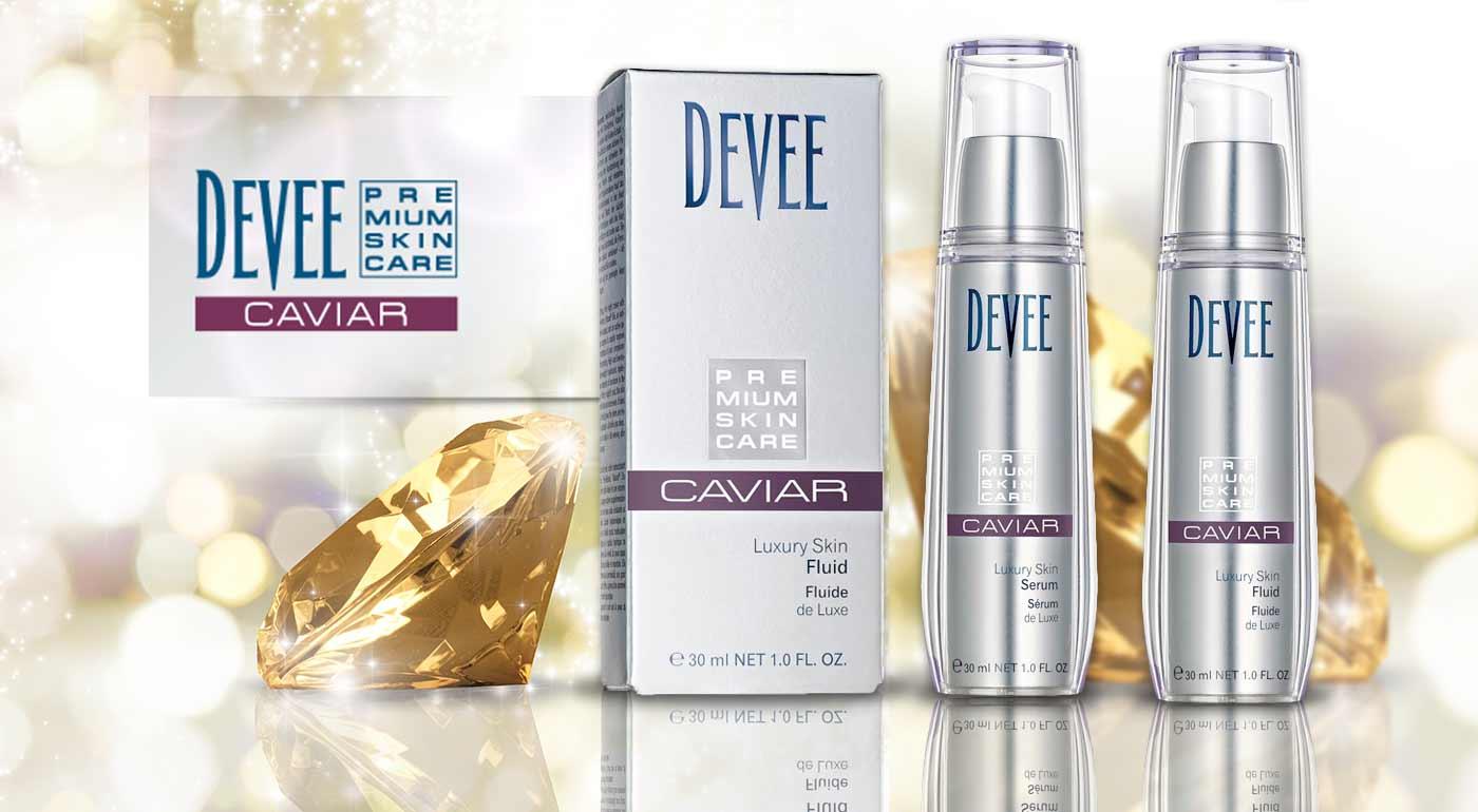 Luxusný pleťový fluid a sérum od značky Devee s obsahom kyseliny hyalurónovej a kaviáru pre krásnu pleť bez vrások