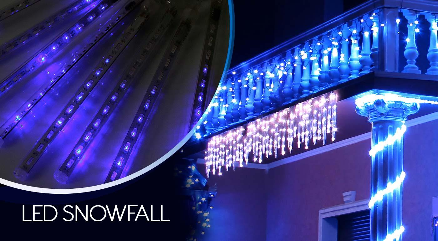 LED vianočné osvetlenie - cencúle s efektom sneženia v modrej alebo bielej farbe