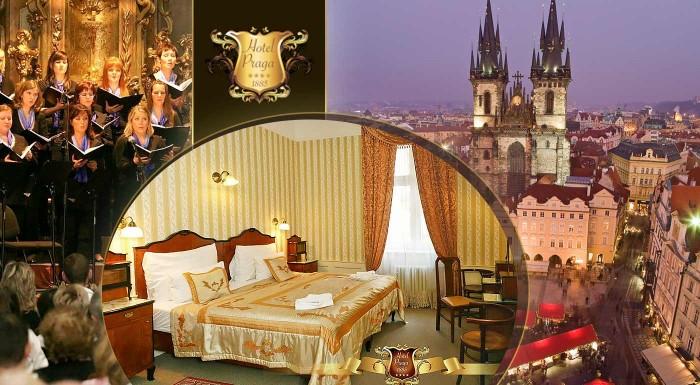 Fotka zľavy: Zažite rozsvietenie vianočného stromčeka a atmosféru Vianočných trhov na Staromestskom námestí. Urobte si výlet do vyzdobenej Prahy a užite si komfort v 4-hviezdičkovom Hoteli Praga 1885.
