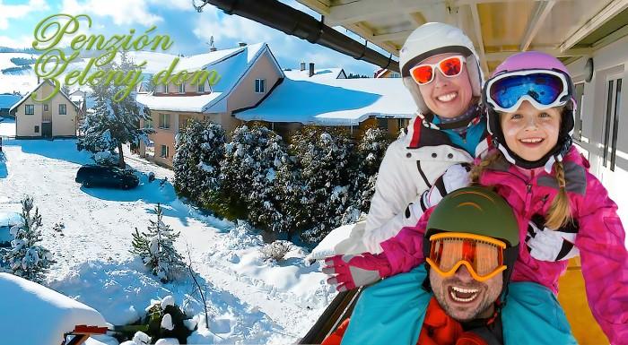 Fotka zľavy: Hľadáte bezstarostné miesto na tohtoročnú lyžovačku? Prijmite pozvanie do Penziónu Zelený dom v blízkosti lyžiarskeho strediska Ski Vitanová a Aquaparku Oravice.