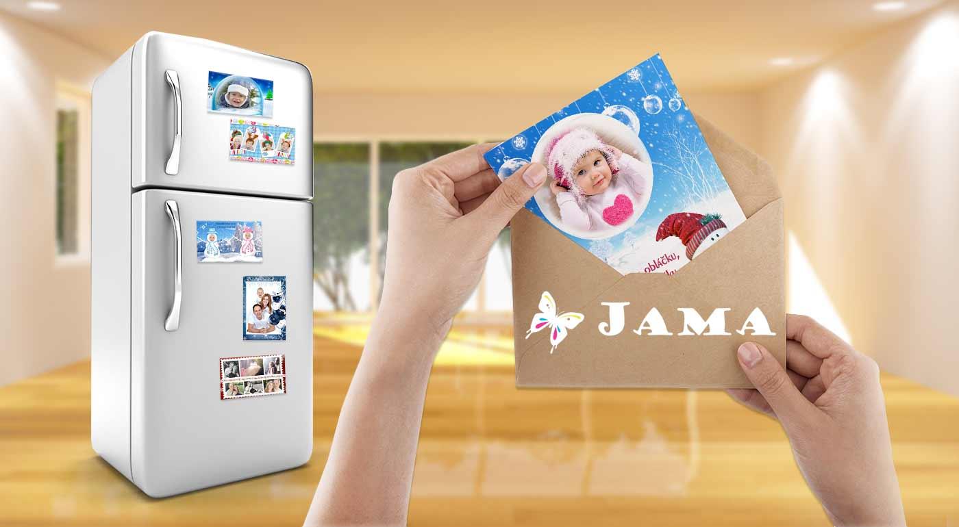 Magnetky, pozdravy alebo pohľadnice s vianočným motívom a vlastnou fotografiou