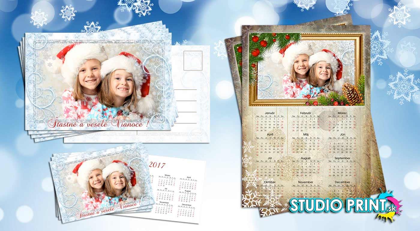 Vianočná sada s vlastnou fotografiou - 2x jednostranný kalendár formát A3, 8x pohľadnica formát 10x15 cm, 10x vreckový kalendárik formát 9x6 cm