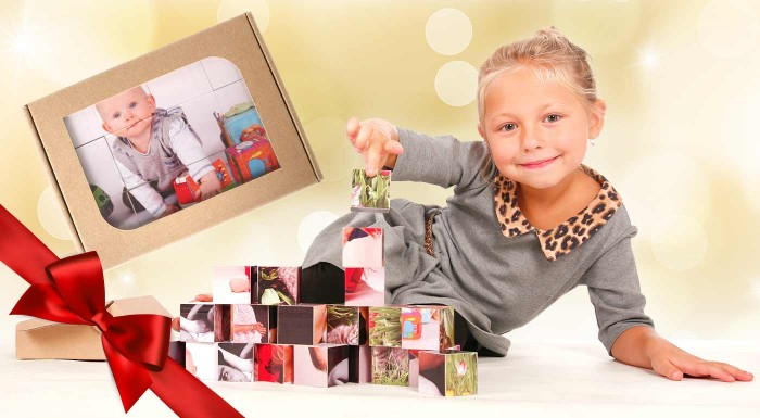 Fotka zľavy: Netradičné kocky s fotografiou! Vďaka originálnej fotopotlači budete môcť pri tejto hre spoločne spomínať na tie najkrajšie zážitky. V darčekovom balení sa skrýva 9 alebo 12 kociek.