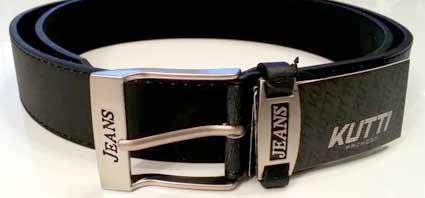 Pánsky kožený opasok s oceľovou prackou - model 1