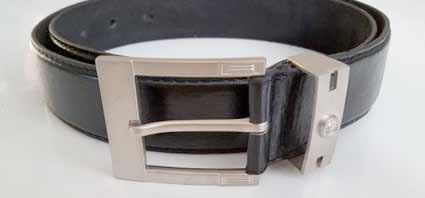 Pánsky kožený opasok s oceľovou prackou - model 9