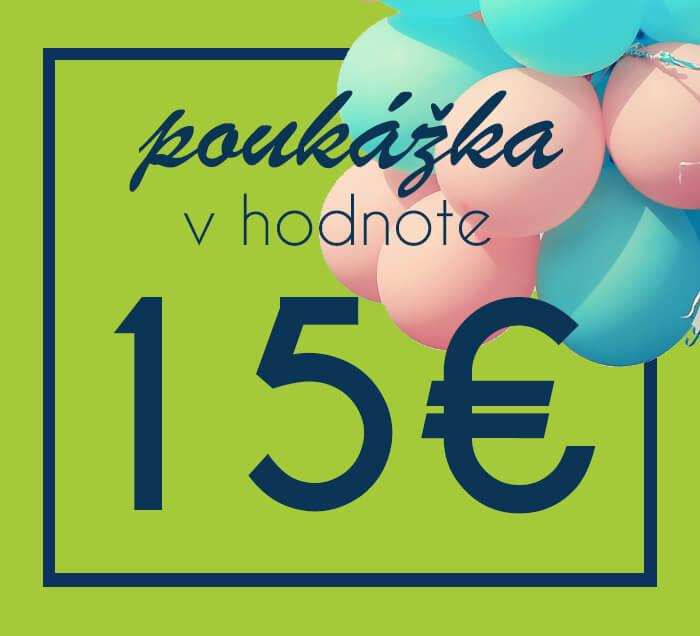 Darčeková poukážka na nákup na ZaMenej.sk v hodnote 15 €