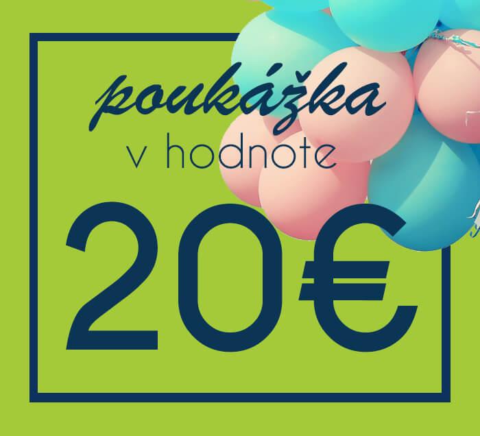 Darčeková poukážka na nákup na ZaMenej.sk v hodnote 20 €