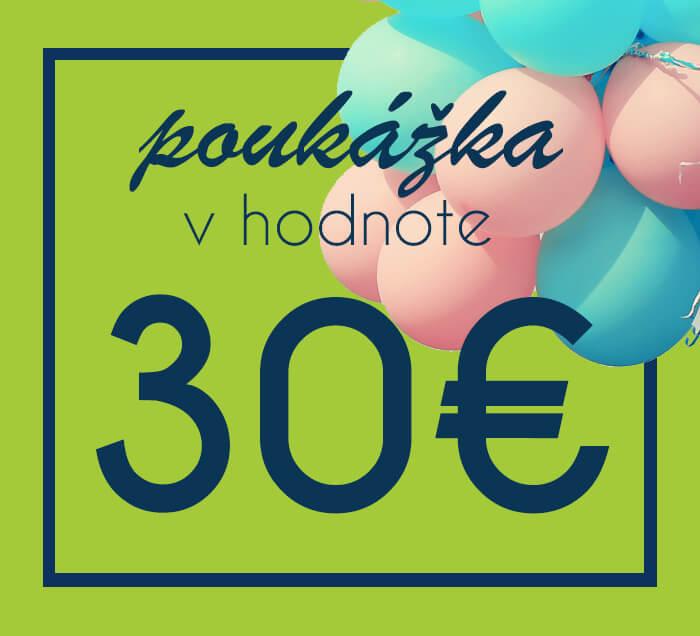 Darčeková poukážka na nákup na ZaMenej.sk v hodnote 30 €
