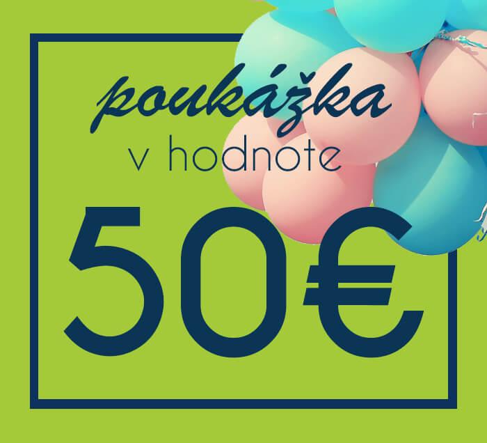 Darčeková poukážka na nákup na ZaMenej.sk v hodnote 50 €