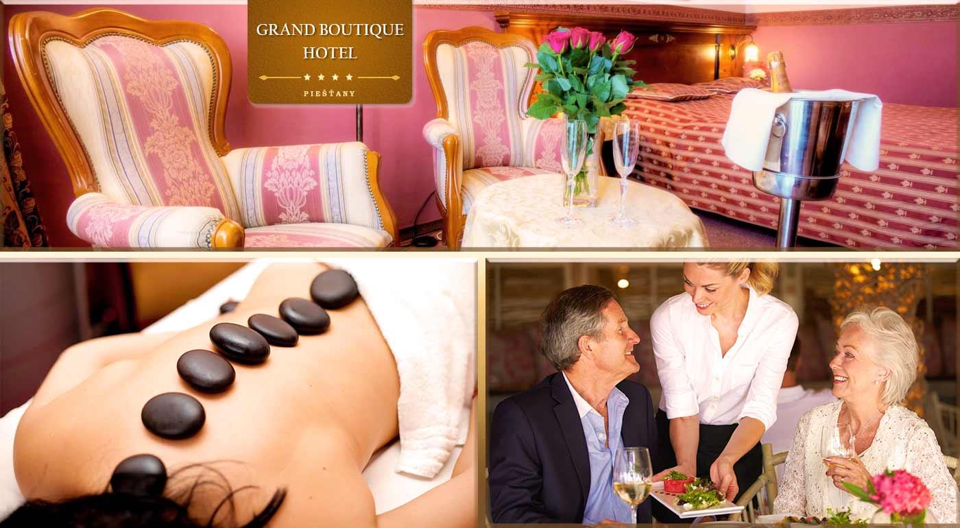 Senior pobyt v luxusnom Grand Boutique Hoteli Sergijo**** v Piešťanoch s plnou penziou a liečebnými procedúrami