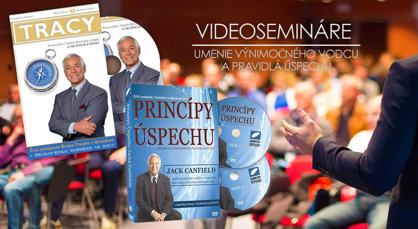 Motivačné video semináre na DVD: Brian Tracy - Umenie výnimočného vodcu a Jack Canfield - Pravidlá úspechu