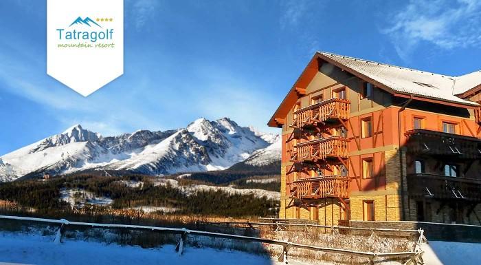 Fotka zľavy: Zasnežená lyžovačka v Tatrách - užite si zimné športy z pohodlia apartmánov Tatragolf Mountain Resort vo Veľkej Lomnici na 3, 4 alebo 5 dní. V balíku aj zľavy na wellness, masáže a do aquaparkov.