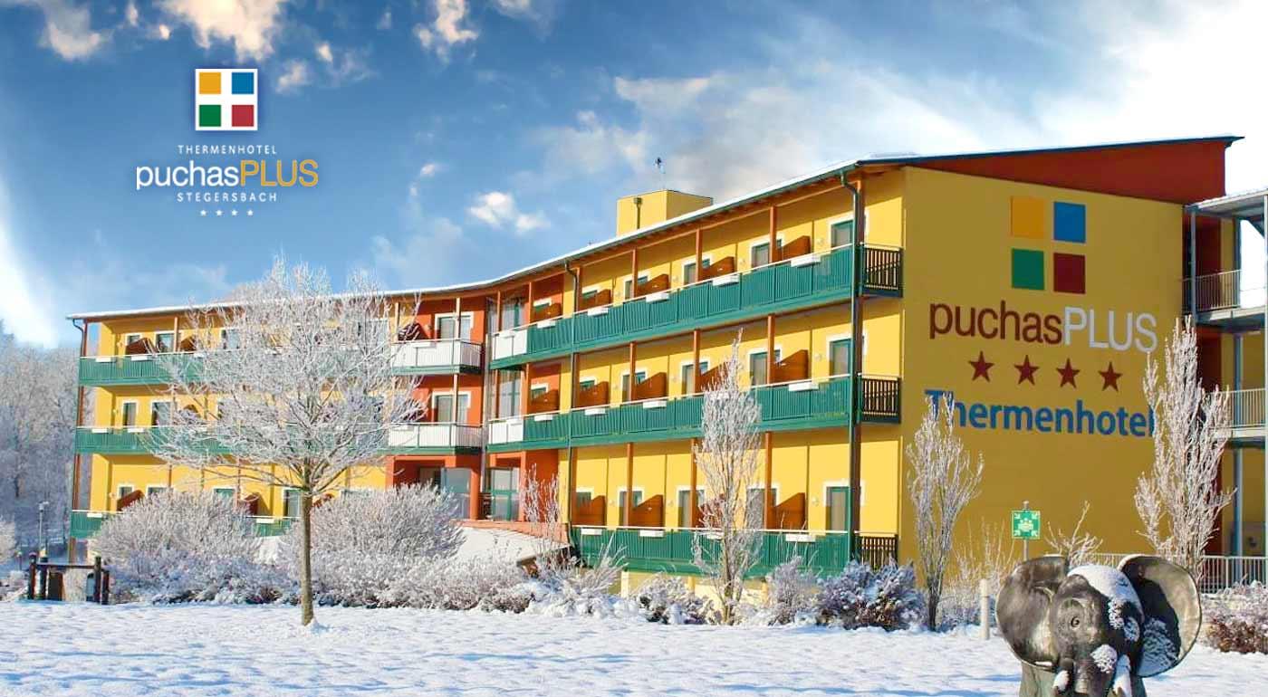 Vychutnajte si 3 alebo 4 dni v špičkovom Thermenhotel PuchasPLUS**** s perfektným wellness s termálnymi bazénmi a až 9 saunami v Rakúsku