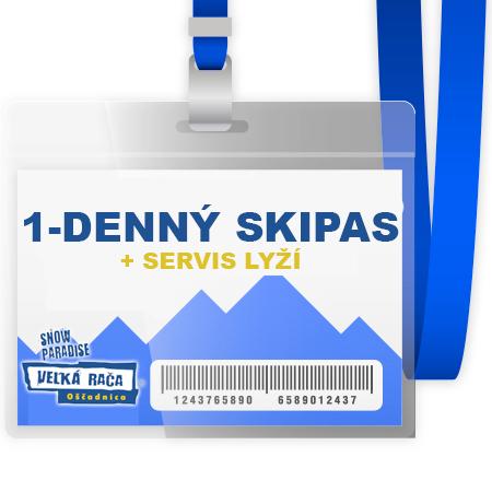 1-denný skipas pre 1 osobu + 1x servis lyží v hodnote 15 € (platí iba v termíne 12.1. - 2.2.2017 a od 8.3.2017 do konca zimnej sezóny počas pracovných dní aj víkendov)
