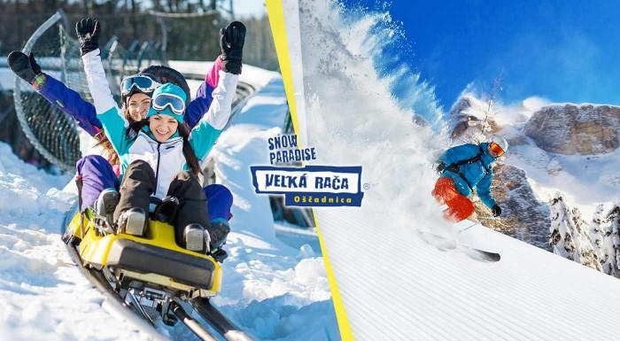 Fotka zľavy: Užite si parádne upravené svahy v lyžiarskom stredisku Snowparadise Veľká Rača. 1-denný skipas so servisom lyží alebo jazdou na bobovej dráhe za super cenu!
