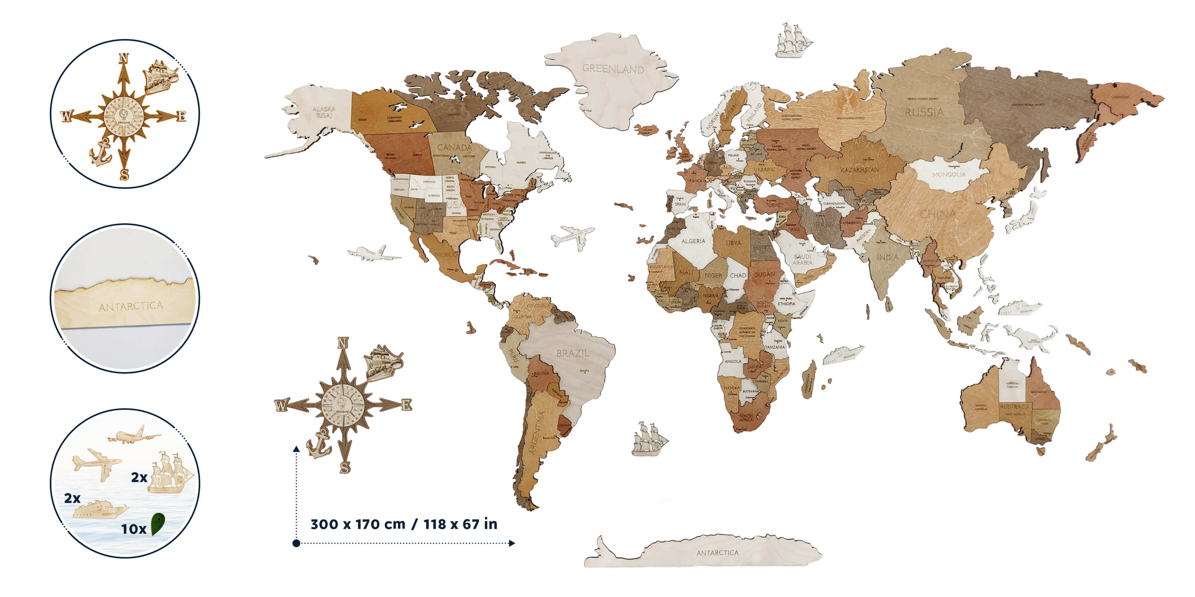 Drevená mapa sveta MEGA Antarctica (rozmer 300 x 170 cm)