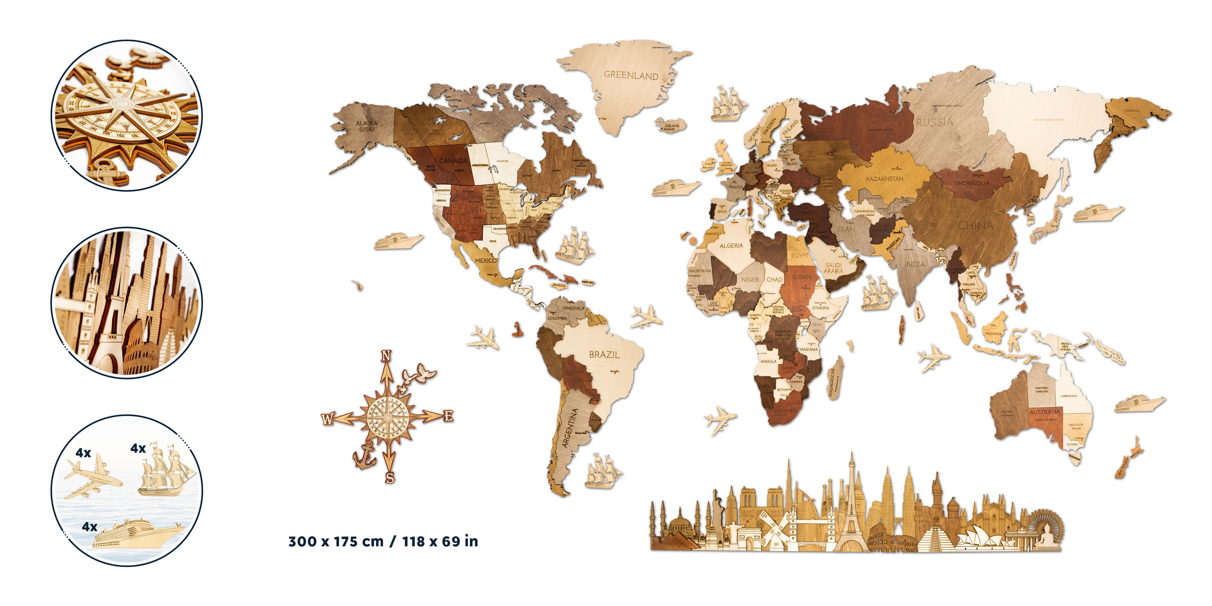 Drevená mapa sveta MEGA EXTRA - de luxe (rozmer 300 x 175 cm)